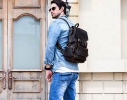 herschel leather backpack