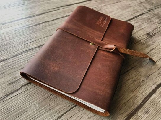 large leather bound journal