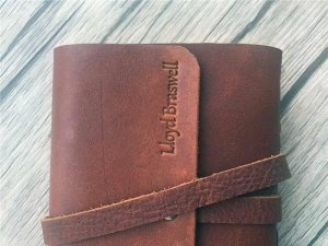 personalized on leather pocket journal
