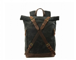 black waxed vintage canvas backpack