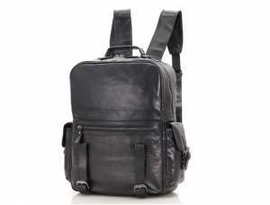 black leather school backpack
