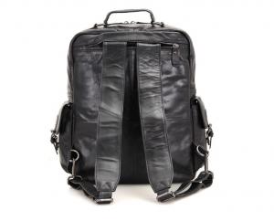 black leather backpack diaper bag