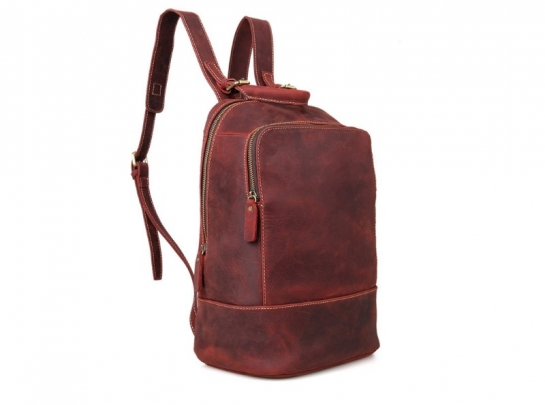 small red leather backpack