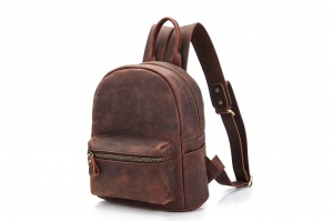 small brown leather backpack purse