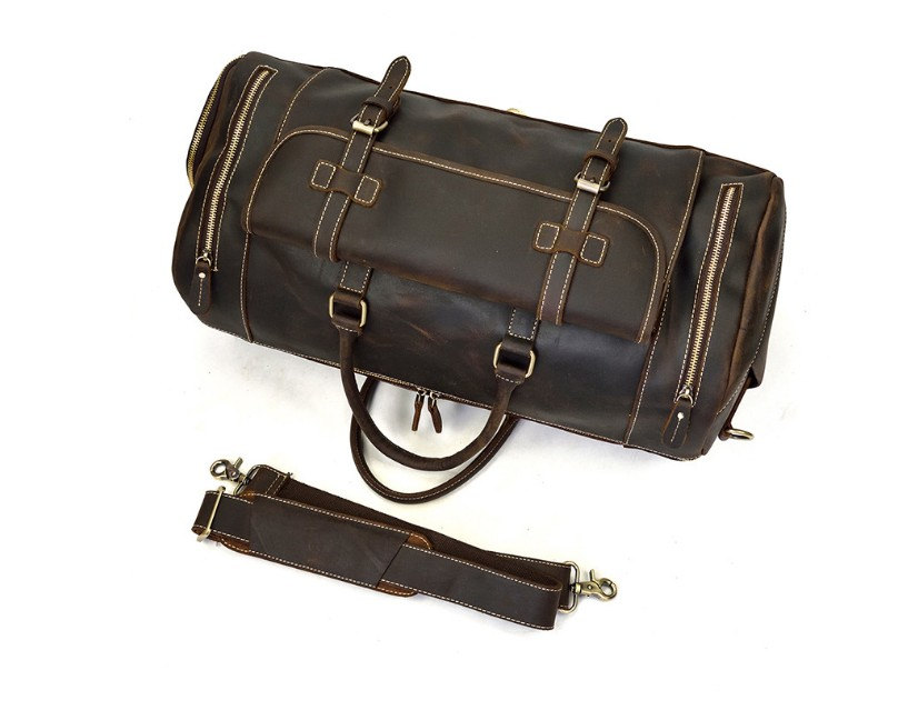 Mens Leather Travel Bag Crossbody Duffel