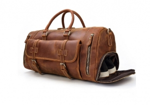mens leather duffle travel bag