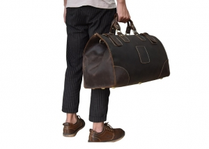 mens leather duffle travel bag