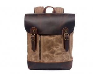 khaki canvas backpack for school