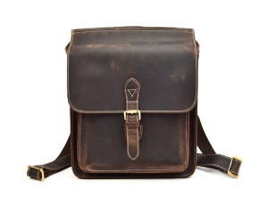 Brown mini leather backpack purse