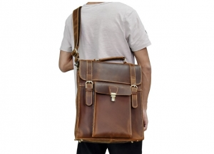 brown faux leather backpack