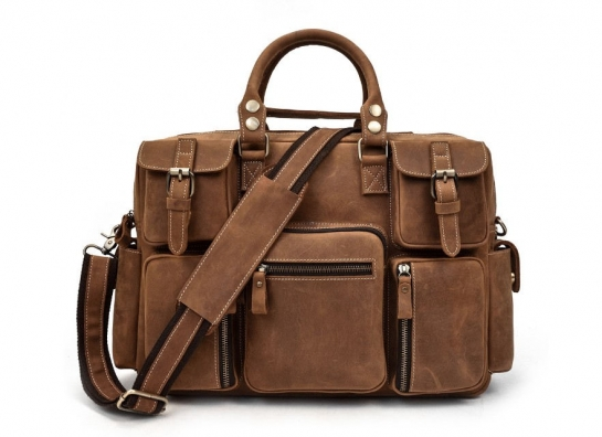 Leather weekend bag for men