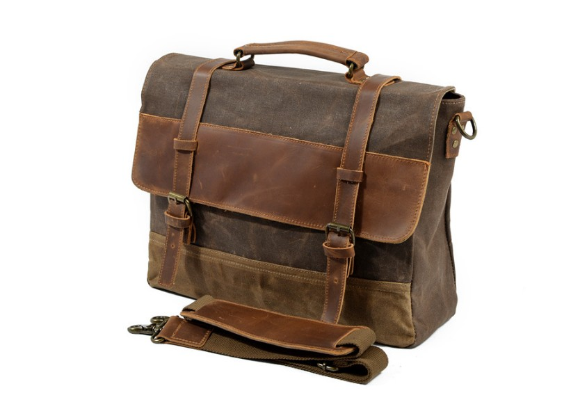 canvas leather bag for men