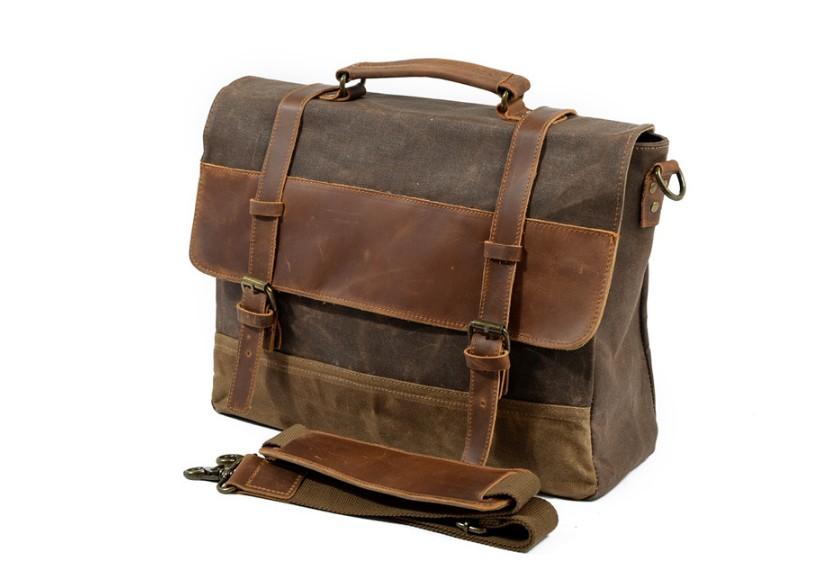 canvas leather bag for men