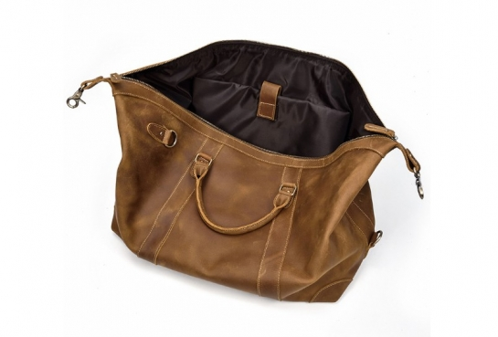 vintage leather overnight travel duffel