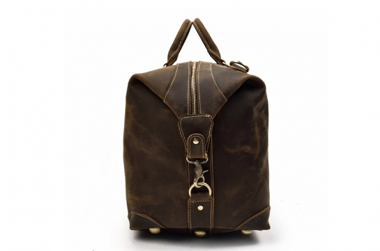 rustic leather overnight luggage duffel