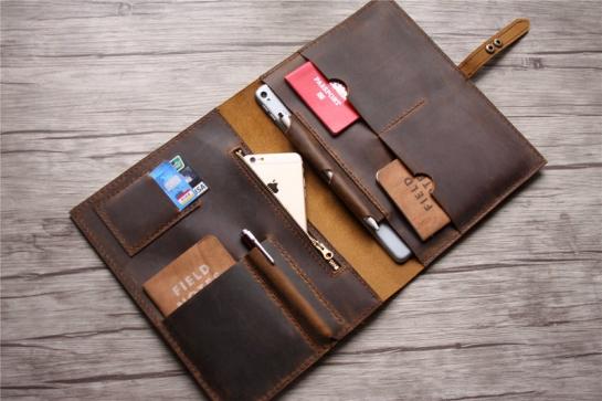 handmade brown leather laptop sleeve case