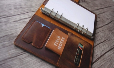 brown leather notebook binder journal