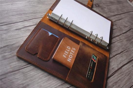 brown leather notebook binder journal