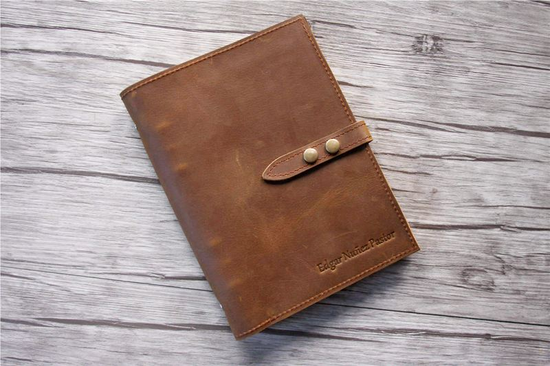 mens leather refillable large notebook binder
