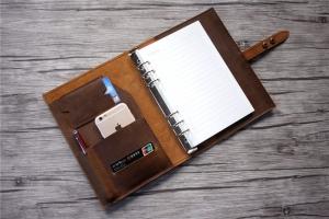 handmade leather A5 binder journal notebook