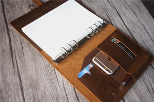 refillable leather binder notebook