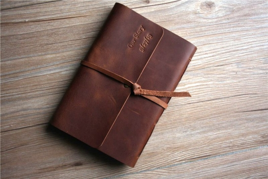 monogrammed leather notebook journal