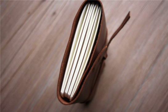 handmade brown leather bound notebook cover
